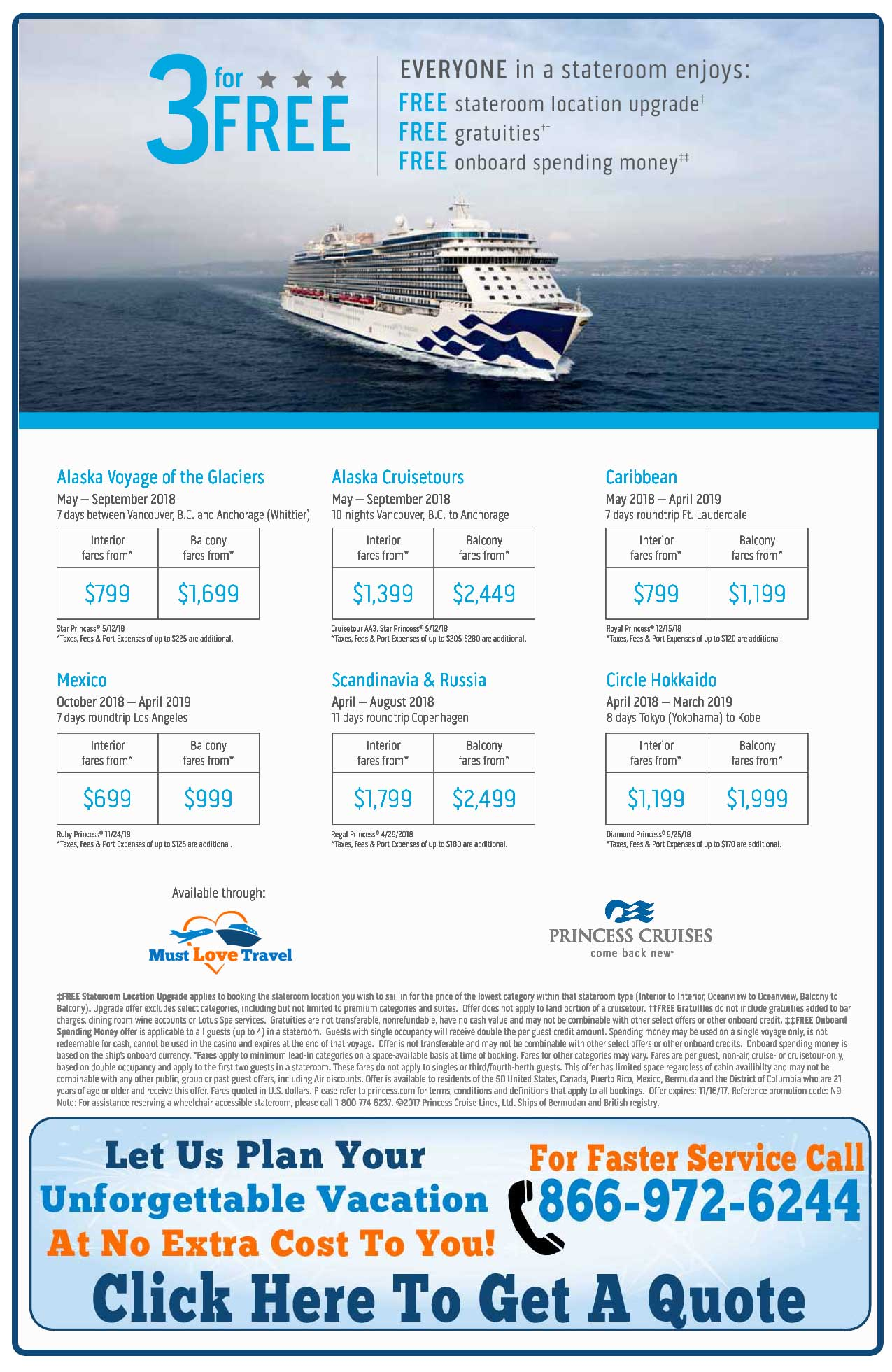 3 For FREE On Princess Cruises